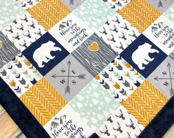 Baby Blanket - Faux Patchwork Quilt - Mountain Blanket - Bear Baby Blanket - Mustard - Boy Baby Blanket - Baby Blankets - Woodland Blanket