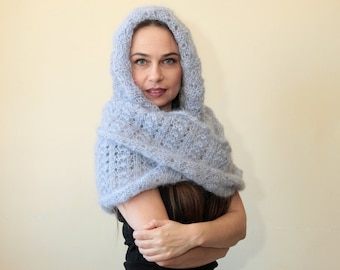HOODED SCARF Extra Long Mohair Infinity Scarf with Hood in blue grey handknit by Solandia