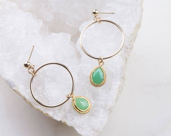Gemstone Circle Teardrop Dangle Hoops, Gift for Her, Everyday Earrings, Dainty Hoop Earrings, Gemstone Hoops, Gemstone Drop Hoops,