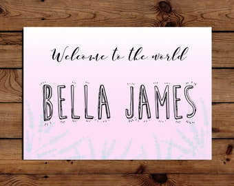 New Baby 'Welcome to the World' Custom Card A5