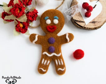 Needle felting toy gingerbread man toy Needle felted food 100 percent wool needle soft sculpture toy