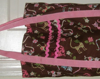 Cat Tote Bag Brown with Pink and Green Whimsical Kitty Cats Pink Trim