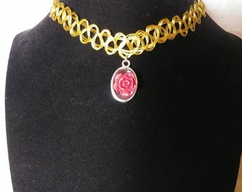 Rose Red Tattoo Style Choker Necklace