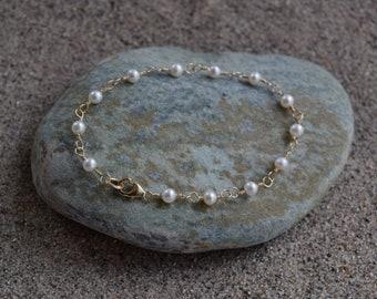 4mm Freshwater Pearl and 14k Gold Filled Bracelet
