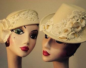 Fühlte mich Hand Crafted, 1940er Jahre inspiriert, Hochzeit Hüte in Elfenbein