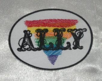 Embroidered LGBT Support Gay ALLY Rainbow Flag Triangle Patch Iron On Sew On USA