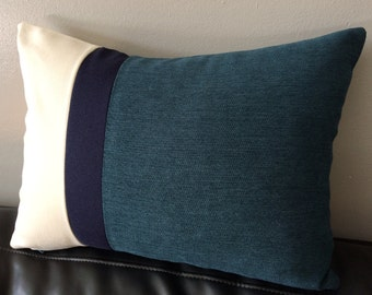 Color Block Pillow Cover, Teal Blue Pillow Cover, Beige Pillow Cover, Decorative Pillow Cover