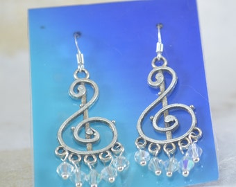 Crystal Drop Earrings - Clear Crysstal 4mm Bicones - Crystal Cascade Earrings - Musical Note Earrings
