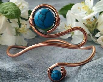 Boho copper bracelet for women, bohemian free size cuff bracelet, gypsy bracelet with blue howlite stone, adjustable bracelet, gift for her