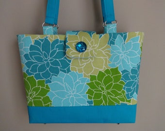 Handmade purse, canvas tote, spring handbag, spring purse, summer purse, purse with straps, vacation purse, blue purse, green, gift for wife