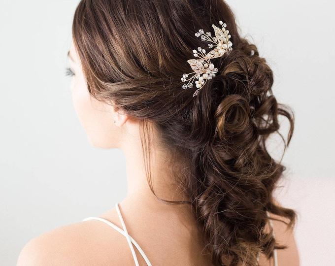 Bridal Hair Accessories, Gold Leaves Bridal Headpiece, Gold flower Hair pins, Bridal Hair pins, Gold Hair vine, flower hair pins, pearl pins