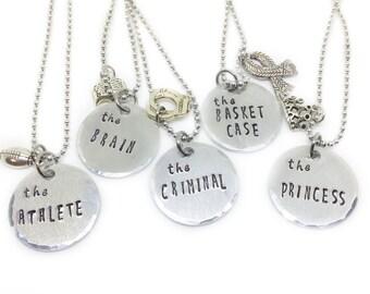 Retro 80s Best Friend Necklace for 5, Friendship Jewelry, Movie Necklace, Gift for Best Friend, Brain Princess Athlete Criminal Basket Case
