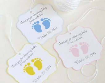 Baby feet custom Baby shower favor tags, footprint baby shower thank you tags, Personalized baby shower gift tag, Thank you for celebrating