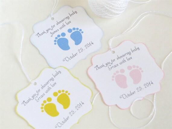 New Baby Boy Gift Tag : Baby feet custom shower favor tags footprint