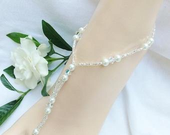 Pearl Barefoot Sandal Bridal Jewelry Beach Wedding Bridal Barefoot Sandals, White Barefoot Sandal