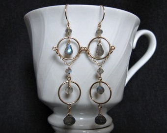 Hourglass Labradorite Earrings- Gold Filled