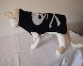 Sphynx Cat Clothing  Black with Silver Skull and Cross bones knitted Jumper/Top sizes available in Small