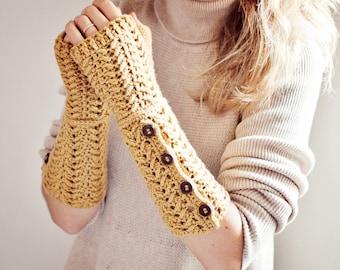 Crochet PATTERN - Buttoned Fingerless Gloves