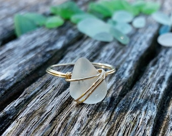 Sea Glass Rings, Wire Wrapped Ring, Sea Glass Ring, Wrapped Wire Stone Rings, Sea Glass, Sea Glass Jewelry, Wire Wrapped Stone, Sea Glass
