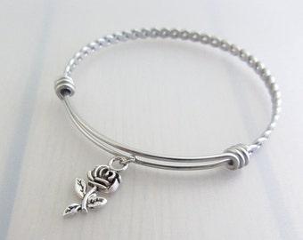 Rose Flower Charm Stainless Steel Bangle, Silver Rose Charm Bracelet, Flower Bangle, Stackable Bracelet, Gardeners Gift, Nature Plant Gift