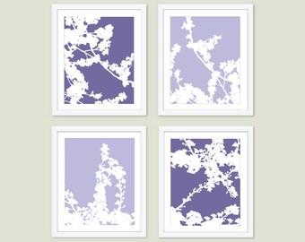 Cherry Blossoms Art Prints -  Cherry Blossom Art  - Cherry Blossom Wall Art - Cherry Tree Art - Purple and  Lilac art - Modern Decor