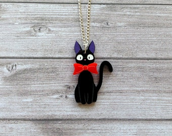 Jiji necklace from Kiki's delivery service - Ghibli, Miyazaki, geek, cute, kawaii, black cat, laser cut acrylic, handpainted
