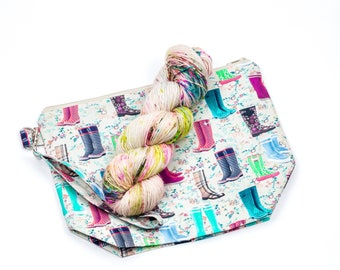 """PRE0RDER--""""Galoshes""""--Project bag and matching yarn kit"""