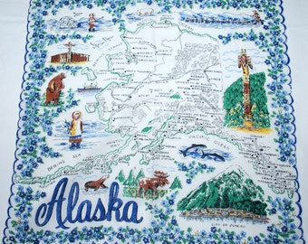Vintage Alaska Souvnir Handkerchief