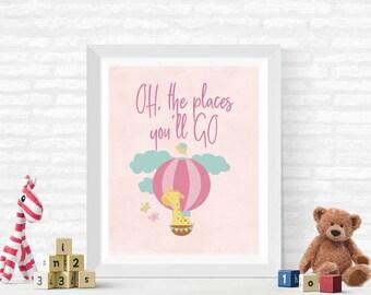 Giraffe Balloon Adventure Nursery Digital Print, Baby Room Decor, Digital Download, Boy's Room or Girl's Room Wall Art, 8x10 (Print#3)