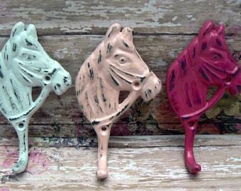 Horse Head Hook Cast Iron Shabby Elegance Horsehead Distressed White Pastel Pink Hot Bold Berry 3 Wall Hooks Jewelry Leash Coat Western