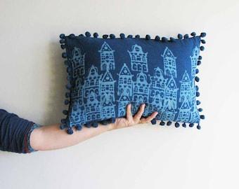 pillows decorative pillow blue pillow bohemian throw indigo home living decor pillow cushion bed toss Pillow covers - AMSTERDAM PILLOW COVER