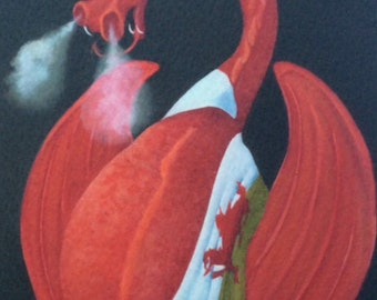 """welsh dragon painting """"Dai Coch"""""""