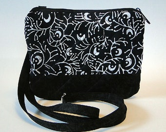 Crossbody Bag, Black, Gray Floral, Coral, Zipped Bag, Quilted Bag, Fabric Bag, Gift for Her