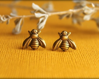 Bee Earrings in Aged Brass, Honeybee Bumblebee Earring Studs, Bronze Bees, Save the Bees, Earthy Nature Inspired, Bee Jewelry Accessory