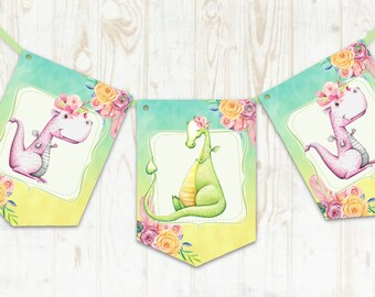 Dragon Bunting Fairytale Banner Baby Shower Party Decoration Dragons Birthday Party Boy or Girl Fantasy Dragons