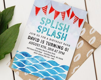 Pool Party Birthday Invitation   Custom Birthday Invite   Editable Pool Party Invitation   Beach Birthday   Water Event   Instant Download