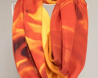 Scarves for women. Shawl wrap. Bridal Party, Weddings. Abstract Floral Photography.  Orange and yellow. Shown in Flame Design.