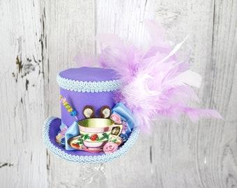Dormouse Light Purple and Blue Teacup Cutout Medium Mini Top Hat Fascinator, Alice in Wonderland, Mad Hatter Tea Party