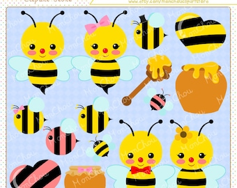 Honey Bee Clipart Set - For Commercial and Personal Use Cliparts