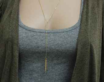 Rose Gold Lariat Necklace, Silver Lariat Necklace, Lariat Bar necklace, Long Necklace, Y Necklace, Delicate Necklace, Dainty layer necklace