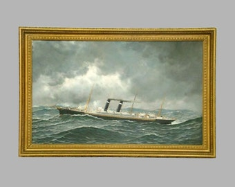 Antonio Jacobsen Philadelphia Steam Ship Oil Painting with Christies Provenance