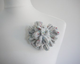 Knitted white / multi unusual heart brooch / corsage