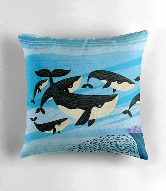 Whale Swim - throw pillow cover / cushion cover by Oliver Lake / iOTA iLLUSTRATION
