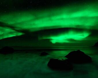 "Northern Lights Print, Aurora Borealis Art, Norway Night Photo, ""Northern Lights in the Sky"""