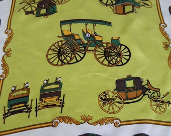 Carriage design vintage scarf, Silk and rayon, Made in Italy, Chief Value Silk, 25 by 25 inches