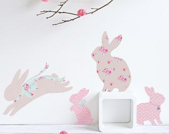 Patterned Rabbit Wall Decals (fabric stickers, not vinyl)