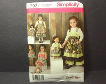 Simplicity 1793 Pattern Dress, Pants, Shorts and 18 inch Doll Clothes, Sarah Rose Sewing Pattern, Size 3 - 8, Uncut