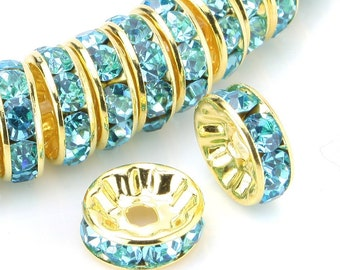 100 Aquamarine Blue Rondelle Beads; Gold Plated Crystal Rondelle Spacer Beads 10mm