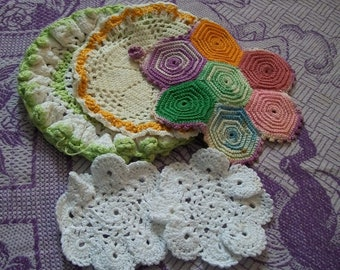 Vintage Doily, Set of five Hand Crocheted Doily, Crochet Doily, pink green White, ruffled Doily