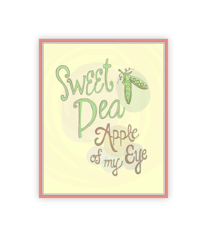 Sweet Pea Apple of My Eye Nursery Quote Print 8x10 neutral